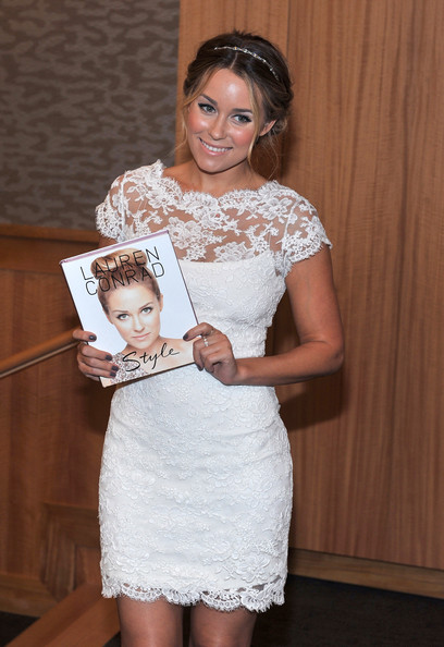 Lauren-Conrad-updo-headband-white-lace-dress